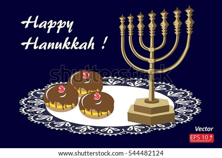 Greeting card happy hanukkah background jewish stock vector greeting card happy hanukkah background for jewish holiday with golden menorah tasty chocolate glazed donuts m4hsunfo