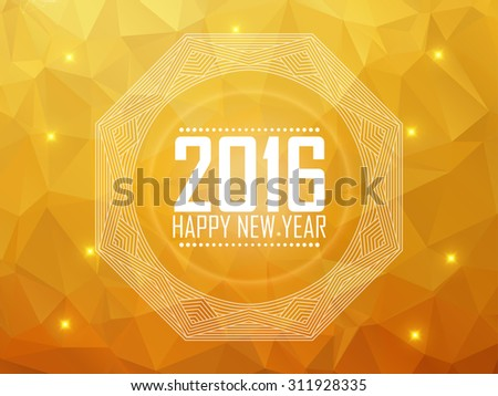 Greeting card Happy New Year 2016. Polygonal background, stars, holiday, shine, mandala. Vector illustration - stock vector