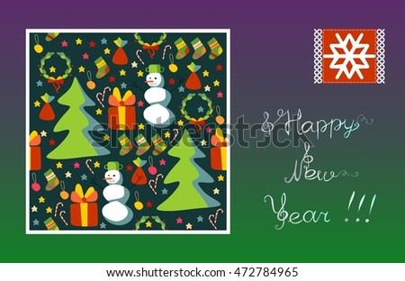 Greeting card Happy New Year! Snowflake, snowman, Christmas tree, gift, stars. Vector image.
