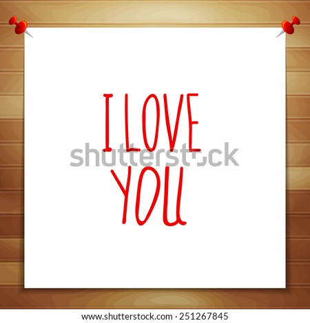Greeting card Happy Valentine's Day. Declaration of love. A note on a wooden wall - stock vector