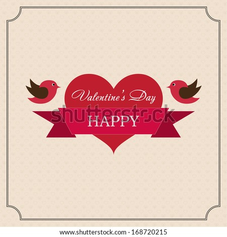 Greeting card Happy Valentine's Day in the old style frame. Hearts with ribbon and two birds with a festive mood on a light yellow background - stock vector