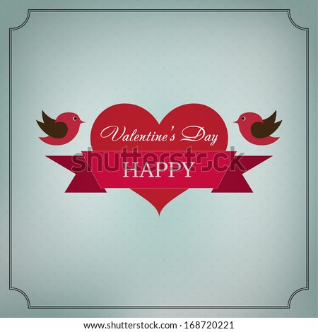 Greeting card Happy Valentine's Day in the old style frame. Hearts with ribbon and two birds with a festive mood on a light green background - stock vector