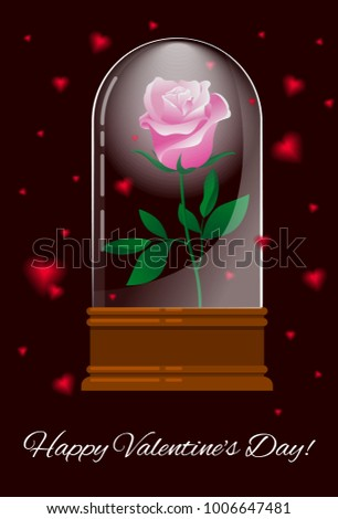Greeting Card Happy Valentineu0027s Day With A Rose In A Glass Case