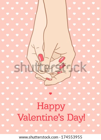 """Greeting card """"Happy Valentine's Day"""", with holding hands couple man and woman. (white skin) - stock vector"""