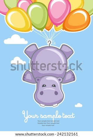 Greeting card Hippo with balloons - stock vector