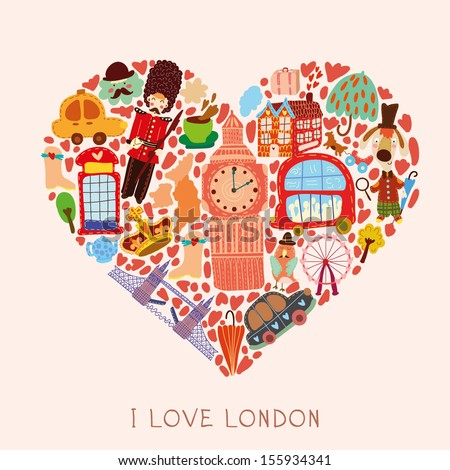 Greeting card-I love London. With many vector cute elements Stylish design element in bright colors - stock vector