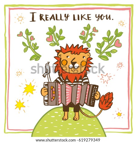 "Greeting card ""I really like you"" with Lion."