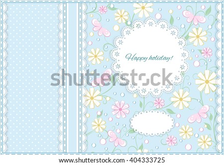 greeting card in pastel color with ribbon, lace, place for your text on  floral  background, vector illustration - stock vector