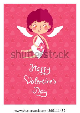 Greeting card in vector. Valentine's Day cute cupid postman with letter. - stock vector
