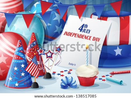 Greeting Card Independence Day July 4. - stock vector