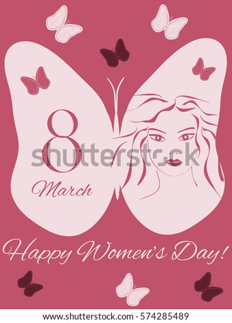 Greeting Card International Women's Day on 8 March, pink  silhouette of a girl, butterfly