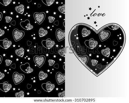 greeting card/invitation with hearts - stock vector