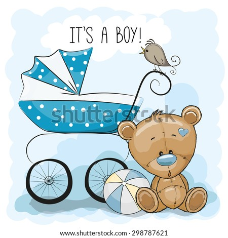 Greeting card it's a boy with baby carriage and Teddy Bear  - stock vector