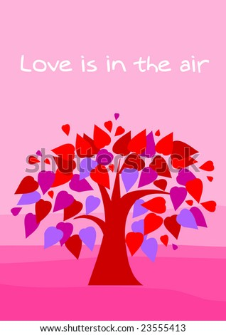 greeting card - love is in the air - stock vector