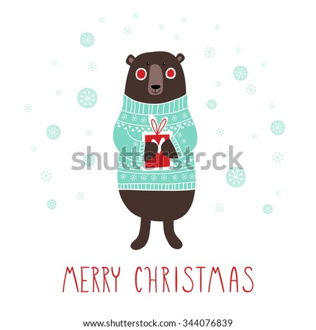 Greeting card: Merry Christmas. Creative hand drawn card with cute bear and gifts. Vector cartoon illustration. Hand drawn typography poster. Xmas design. - stock vector