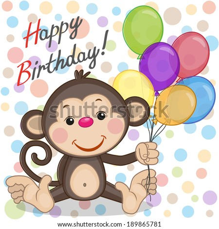 Greeting card Monkey with balloons - stock vector