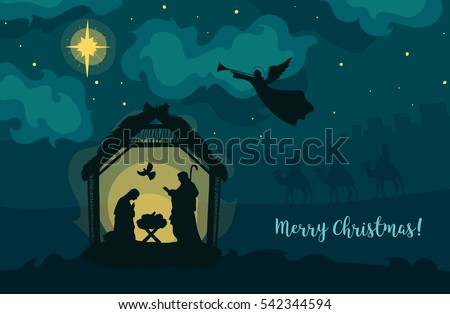 Greeting card traditional christian christmas nativity stock vector greeting card of traditional christian christmas nativity scene of baby jesus in the manger with mary m4hsunfo
