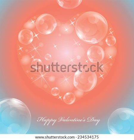 Greeting card on the Valentine's day with brilliant heart of bubbles and stars on red and blue background with text - stock vector