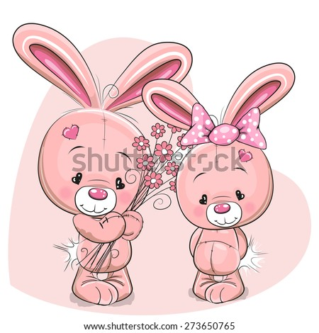Greeting card rabbit boy gives flowers to a rabbit girl  - stock vector