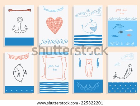 greeting card set cute retro sea objects collection. vector illustration - stock vector
