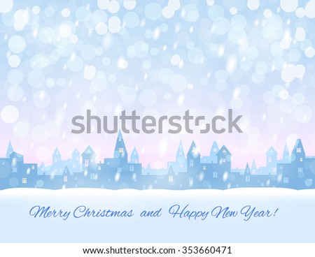 greeting card, silhouette of snowing  winter town,  light blue and pink sky, snowfall, vector illustration - stock vector