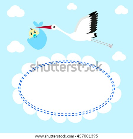 Greeting card Stork delivers baby boy on a background of clouds and sky - stock vector