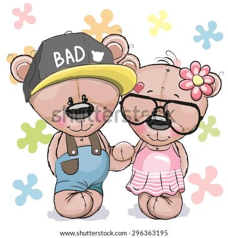 Greeting card Teddy boy Teddy girl on a flowers background  - stock vector