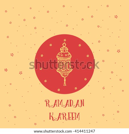 Greeting card template design muslim holiday stock vector royalty greeting card template design for muslim holiday ramadan kareem with stars and hand drawn lamp in m4hsunfo