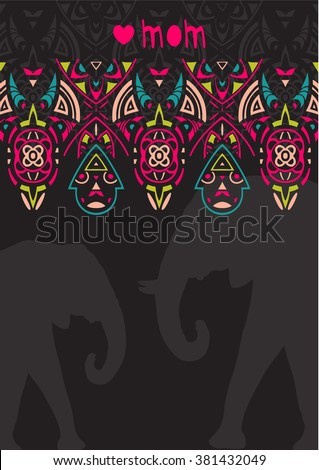 Greeting card template for Mother's Day. Elephants - stock vector