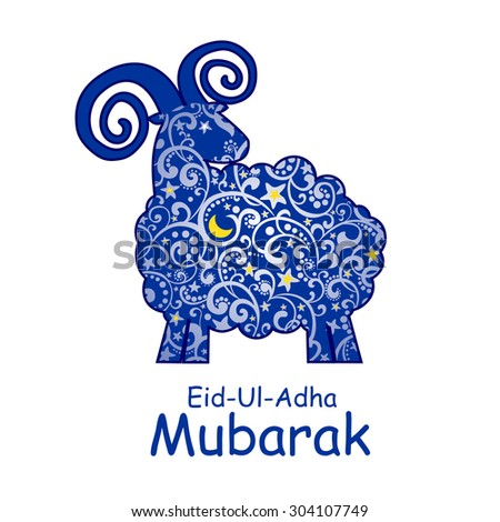 Greeting card template for Muslim Community Festival of sacrifice Eid-Ul-Adha with sheep  - stock vector