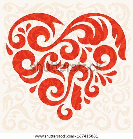 Greeting card template with abstract heart, vector illustration - stock vector