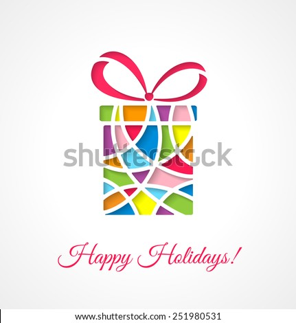Greeting card template with cut out multicolor gift. Vector illustration.  - stock vector