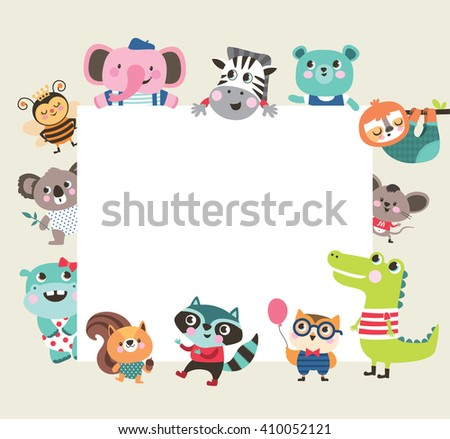 Greeting card template with group of cute animals and text space - stock vector