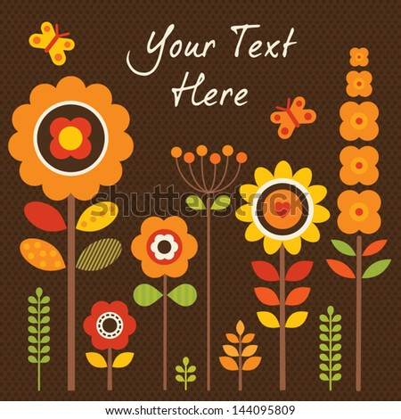Greeting card template with retro style flowers. Great for framing, Birthday, Mother's Day, Thank You, Sympathy; Thanksgiving; invitations. See my folio for JPEG version and for other colors. - stock vector