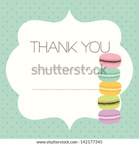 Greeting card template with sweet macaroons