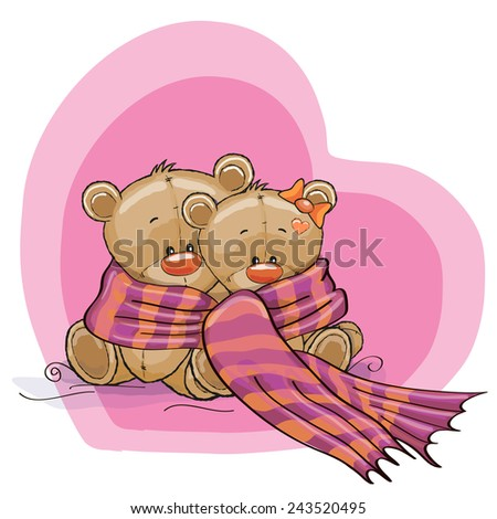 Greeting card two Teddy Bears wrap up in a scarf - stock vector
