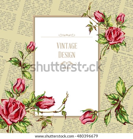 Greeting card vintage design. Ornate frame decoration with retro pattern. Festive vector illustration with roses for Happy Birthday, wedding and other celebrations.