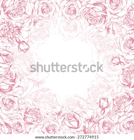Greeting card with a  blossoming rose. (Use for Boarding Pass, invitations, Save The Date card.) Vector illustration.