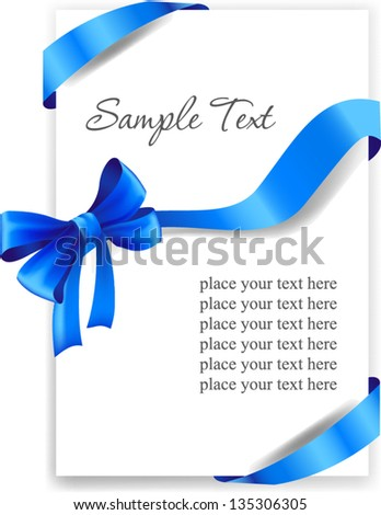 Greeting card with a blue ribbon - stock vector