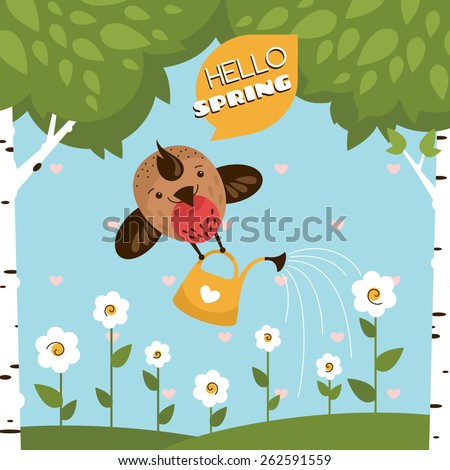 Greeting card with a cute bird watering the flowers vector illustration - stock vector