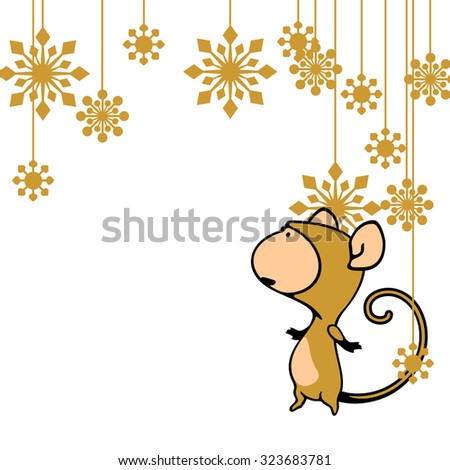 Greeting card with a Monkey looking at holiday decoration - stock vector