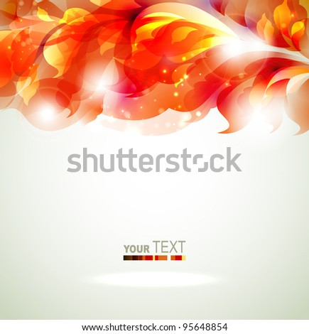 greeting card with abstract red branch - stock vector