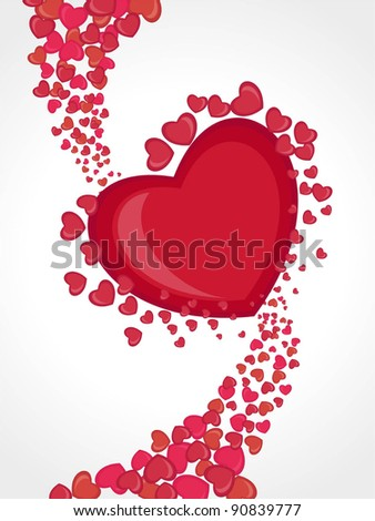Greeting card with abstract shape background in red and pink color for Valentines Day.