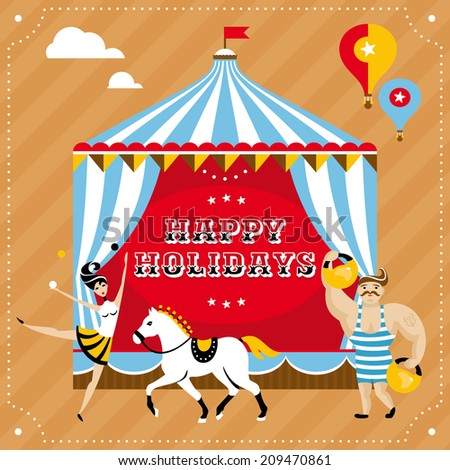 Greeting card with acrobat girl, horse and strongman - stock vector