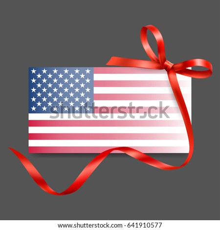 greeting card american flag ribbon vector stock vector 641910577