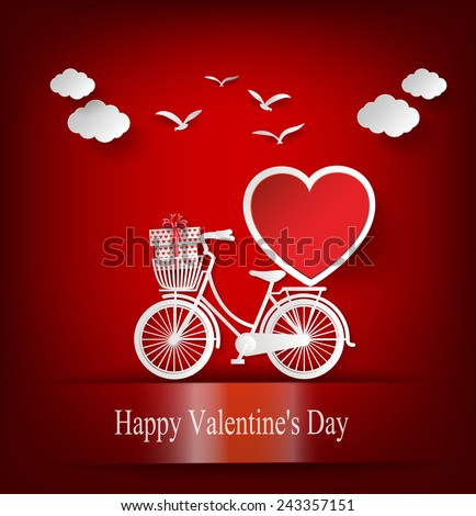 Greeting card with bike and air balloons in heart shape. paper art style.