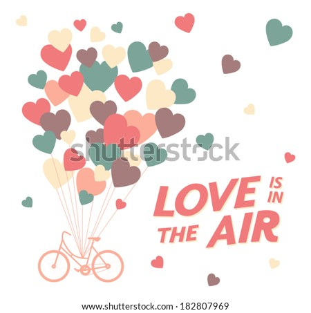 Greeting card with bike and air balloons in heart shape. vector illustration