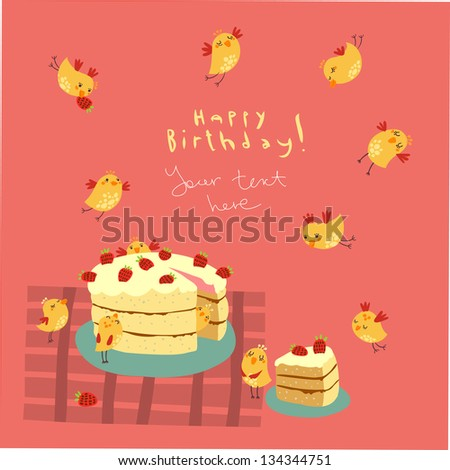 Greeting card with birds and cake