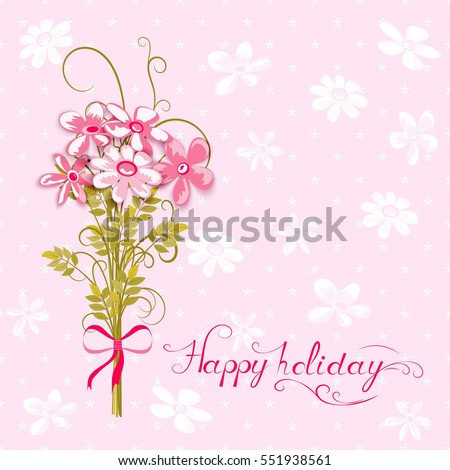 greeting card with bouquet of flowers on pink textured background, vector illustration