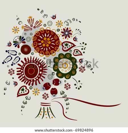 greeting-card with bright decorative flowers - stock vector